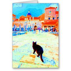 Gorgeous, artsy greeting cards!  Old Harbor Black Cat ~ Dubrovnik, Croatia