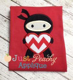 Valentine Ninja Applique Design Just Peachy Applique