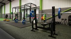 The Strength & Conditioning area at Rigs www.rigsfitness.co.uk with lifting platforms, crossfit rig, lifting cages, olympic lifting bars, competition lifting discs, trap bar deadlift, slam balls, olympic rings! Suitable for #Gymnastic Training, #Crossfit,