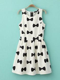 Fashion Bow Print  Dress (White) Casual Dresses from stylishplus.com