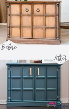 Great and easy tutorial for painting old furniture using Fusion Mineral Paint. I love the color she used - Homestead Blue - with the gold hardware! Painting Old Furniture, Refurbished Furniture, Repurposed Furniture, Furniture Makeover, Painted Furniture, Refinished Chairs, Dresser Repurposed, Antique Furniture Restoration, Laminate Furniture