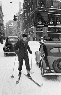 AOK har samlet 100 billeder fra dengang, hvor vinter betød sne og kulde, og man stod på ski i Indre By.