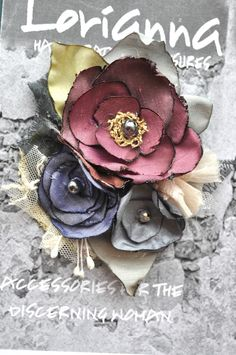 Nude flower brooch - Pink & Purple