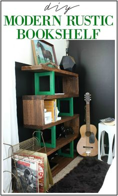 DIY Modern Rustic Bookshelf - this is perfect because I can make it any size for that hard to fit wall.