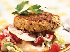 Open-Faced Falafel Burgers | Satisfy your appetite for a great-tasting veggie burger that's easy to make and more healthfully prepared when you use your own wholesome ingredients. Find our favorite recipes here.