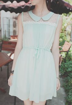 Adorable light blue fit & flare dress with a peter pan collar