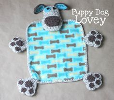 Puppy Dog Lovey Blanket made with Vanna's Choice, pattern by @RepeatCrafterMe