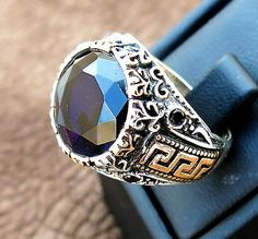 TURKISH MEN RING 925 STERLING SILVER BLACK AGATE ONYX  STONE #31