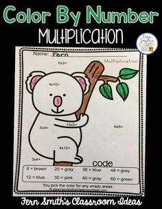 Looking For Something Cute to Review Multiplication?   Free Color By Numbers Mixed Multiplication Your students will adore this Awesome Animals Color Your Answers Worksheet for Mixed Multiplication. The answer key is also included terrific for an Emergency Sub Tub or Homework!  Click here to download your freebie now  your students will  love  it!    3 - 5 Color By Code Color by Number Fern Smith's Classroom Ideas multiplication PK - 2 printables