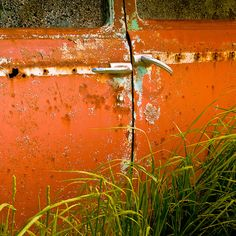 """This artist found a graveyard of old vintage cars in a paddock and stated """"I loved the orange rust texture on this car and how it provided a great background to contrast with the green grass. Grandin Road Color Crush on Burnt Orange Orange You Glad, Orange Is The New, Green And Orange, Orange Color, Orange Shades, Wassily Kandinsky, Retro Texture, Old Vintage Cars, Vintage Trucks"""