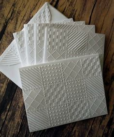 Embossed Quilt Cards Set of 5 White Embossed Quilt by WriteCards