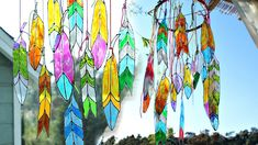 DIY Faux Stained Glass Feathers is part of painting Glass DIY - Get your Bohemian style on with this easy faux stained glass feather project by Mark Montano Aren't these just super amazing Hang in the window, embellish a dream catcher or create a beaut… Stained Glass Church, Making Stained Glass, Stained Glass Crafts, Faux Stained Glass, Stained Glass Lamps, Stained Glass Patterns, Stained Glass Windows, Window Glass, Stained Glass Cookies