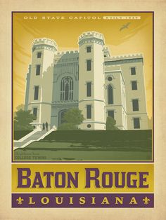 American College Towns: Baton Rouge, LA - This classic print is part of our series of Great American College Towns. Louisiana State University students, families, sports fans, faculty, and alumni are sure to connect with this classic scene of the Old State Capitol in Baton Rouge. Printed on gallery-grade matte-finished paper, this print will add nostalgic charm to any home or office wall.