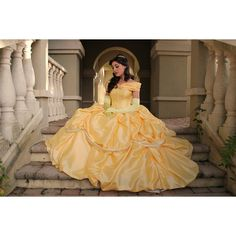 Beauty and the Beast Belle Adult Cosplay Costume Gown Dress Cosplay ($450) ❤ liked on Polyvore