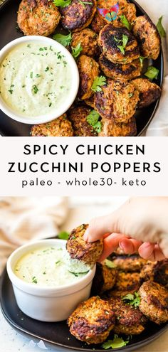 These spicy chicken zucchini poppers are out of this world flavorful and delicious! They are Paleo, Whole30, and Keto and take just 20 minutes to make. Perfect for an easy weeknight dinner or for meal prep.<br> Healthy Summer Recipes, Paleo Recipes, Dinner Recipes, Paleo Food, Healthy Options, Turkey Recipes, Dessert Recipes, Chicken Zucchini Poppers, Spicy Chicken Recipes