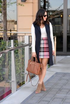 plaid skirt and long