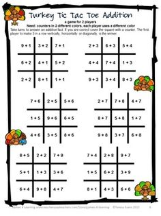 TURKEY MATH GAMES ADDITION AND SUBTRACTION Fun math board games for addition and subtraction. $