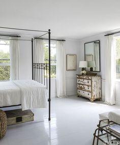 Mona-Nerenberg-Bloom-Sag-Harbor-Elle-Decor-habituallychic-- I love these white floors for a bedroom. White Painted Floors, Painted Hardwood Floors, Painted Floorboards, Wood Flooring, Farmhouse Bedroom Decor, Home Bedroom, Bedroom Ideas, Bedroom Designs, Serene Bedroom