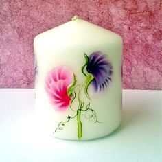 Sweet pea candle hand painted £6.50