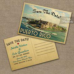 Puerto Rico Save The Date Postcards - Printable Puerto Rican Save The Date Cards - Retro Vintage Travel Destination Wedding VTW
