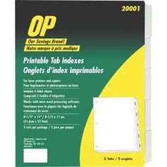 OP Brand Printable Tab Indexes Printable Tabs, Printables, Index, Filing, Chart, Organization, Getting Organized, Organisation, Print Templates