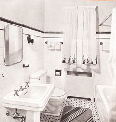 Mid century scrapbook - bathrooms bathroom remodel ванная и Bathroom Renos, Bathroom Flooring, Bathroom Renovations, Small Bathroom, Bathroom Ideas, Bungalow Bathroom, Restroom Ideas, Office Bathroom, Bathroom Layout