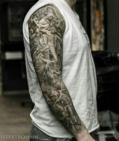 50 jesus sleeve tattoo designs for men - religious ink ideas Full Sleeve Tattoos, Tattoo Sleeve Designs, Tattoo Designs For Women, Angel Sleeve Tattoo, Tattoo Sleeves, Tatuajes Tattoos, Arm Tattoos, Tattos, Future Tattoos