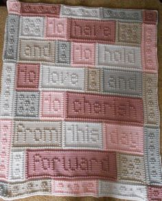 "This crocheted blanket makes a wonderful wedding or bridal gift. An original design, the blanket when finished reads, ""to have and to hold to love and to cherish from this day forward."" The entire blanket requires only three crochet stitches - chain stitch, single crochet and the popcorn stitch. This is a pattern only and is not the finished product. The pattern includes the written instructions, chart, a list of materials and the yarn amounts needed for a finished blanket approximately 48""…"