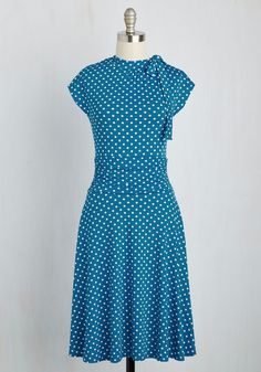 Dance Floor Date Dress in Blue Dots - Blue, White, Polka Dots, Print, Casual, Vintage Inspired, 40s, Short Sleeves, Spring, Knit, Good, Exclusives, Long