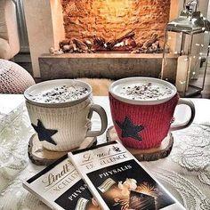 Christmas. Winter. New Year. Hot Chocolate. Fireplace.