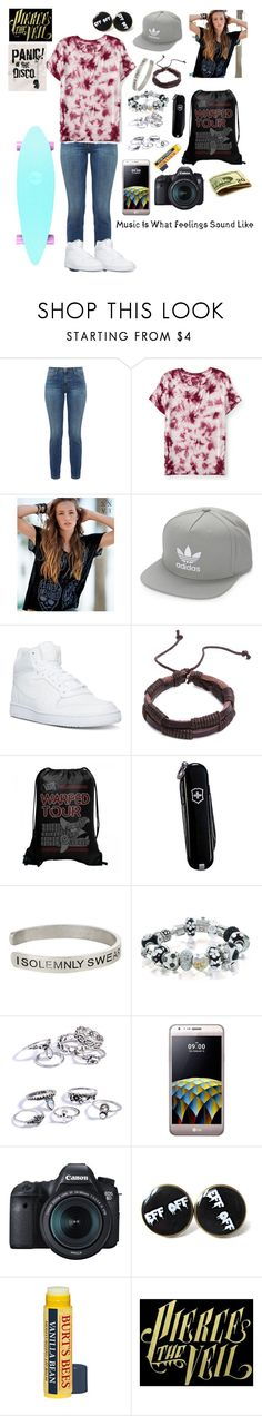 """""""Music is what feelings sound like"""" by skatergurl58 ❤ liked on Polyvore featuring Current/Elliott, Aéropostale, adidas Originals, NIKE, Victorinox Swiss Army, Warner Bros., Bling Jewelry, LG and Eos"""