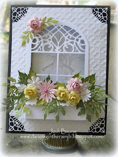 Gorgeous card from Jodi. paper craft, window card, windows, design blogs, lynn design, cheeri lynn, cards, flower boxes, window boxes