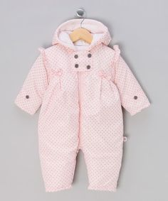 Pink & Grey Snowsuit - Infant from Dizzy Daisy and Pequilino Babywear  Mummas will adore this beautiful range of kids' clothes! With comfy casuals, outerwear, statement pieces and pyjamas, your kids are sure to find something they love. Dizzy Daisy produces girls' apparel so sweet it's simply begging to be cuddled, and Pequilino keep little lads looking cool with the trendiest threads around.