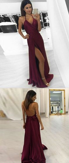 Halter Prom Dress,Split Prom Dress,Satin Prom Dress,Fashion Prom