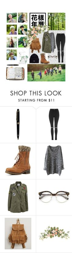 """""""🌲The call of the forest🌲"""" by infires-jhope ❤ liked on Polyvore featuring Oris, Peek, Mont Blanc, Topshop, Charlotte Russe, Velvet by Graham & Spencer, Urban Expressions and Acne Studios"""