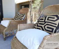 In A Recent Cocoa Bean Project We Had The Privilege Of Designing This Beautiful Lodge.  These Stunning Woven Chairs With Gorgeous Kubu Cloth Scatters Added Layers Interesting Of Texture To Our Timeless Yet Elegant African Feel.  #CocoaBeanInteriorDesign #cocoabean  #interiordesign #designideas #interiordesignideas #design #bushlodge #lodgedesign #africanvilla #designerhospitality