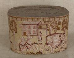 Connecticut wallpaper hat box, 19th c