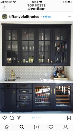 Except with open uppers, solid lowers, and full door across front Home Wet Bar, Bars For Home, Wet Bar Basement, Basement Finishing, Basement Ideas, Basement Kitchenette, Basement Bar Designs, Basement Inspiration, Küchen Design