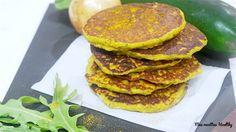Recette de galette salée moelleuse au flocon de pois chiches, épices, fromage fondue et aux courgettes.Avec données nutritionnelles.