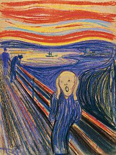 Cette version du tableau Le Cri est probablement la première version peinte par Edvard Munch en 1893 et la plus connue, elle a été réalisée avec de la tempera sur du carton, elle est visible à la National Gallery d'Oslo. Celle ci fut peinte en 1895 au pastel sur du carton, c'est la plus colorée …