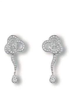 CHANEL Camellia Diamond Drop Earrings