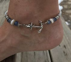 This beautiful anchor beach Anklet is made with blue aventurine stones, white shell beads, light blue glass beads, tibetian silver beads, and a silver plated anchor charm. Ankle bracelet comes in several sizes, just choose your size from the drop down menu at checkout.