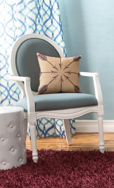 Add a chic finishing touch to your living room or master suite with this lovely curtain, showcasing an alluring trellis motif in blue. Update your bedroom at jossandmain.com