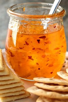 My favorite hot pepper jelly recipes ~ sweet and tangy hot pepper jam and jelly is the best appetizer ever, and so easy to make! Jam Recipes, Canning Recipes, Sauce Recipes, Habanero Recipes, Delicious Recipes, Dinner Recipes, Pepper Jelly Recipes, Hot Pepper Jelly, Pineapple Pepper Jelly Recipe