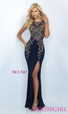 Blush Floor Length Prom Dress with Embroidered Beading at PromGirl.com