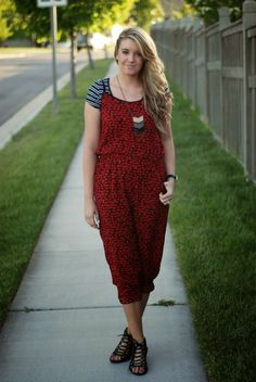 Styles For Less elephant jumpsuit & stripes tee. Outfit from The Red Closet Diary fashion blog.