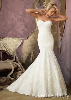 sweetheart mermaid lace wedding gown with by Lemandyweddingdress, $309.00