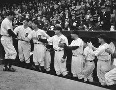 1937 AL All Stars: (L to R) Lou Gehrig, Joe Cronin, Bill Dickey, Joe DiMaggio, Charlie Gehringer ...