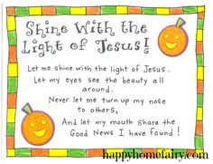 pumpkin poem/Shine with the light of Jesus craft