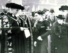 James Magennis:Ulsterman awarded The Victoria Cross (VC). Belfastman decorated for his heroic actions onboard the X.E.11 Midget Submarine returning from the attack on a japanese cruiser. James Magennis with Lord Mayor Sir Crawford McCullagh at a civic reception in Belfast in 1945.